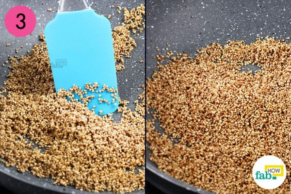 Toast quinoa on medium heat for 5 minutes