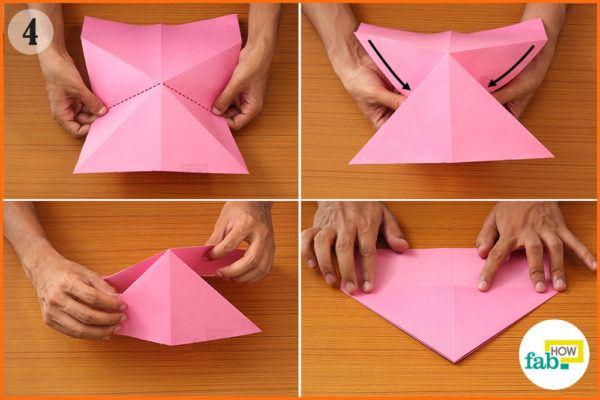 Fold the paper inward