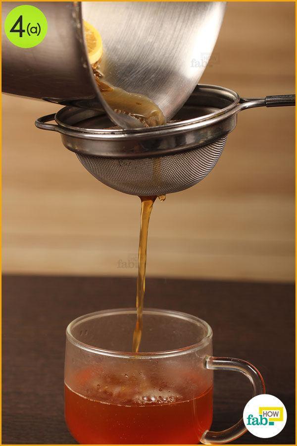 Strain the tea into a cup