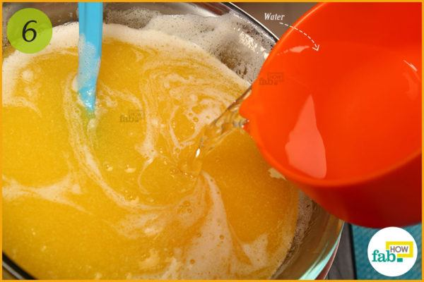 Add water to melted butter