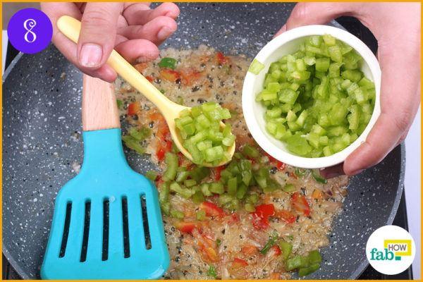 Mix in chopped capsicum