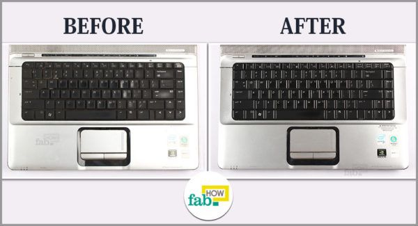 Clean laptop keyboard before after
