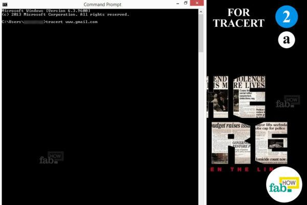 Type tracert command