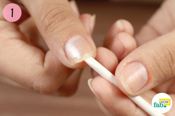 Step-1.Clean underneath your nails with an orange stick