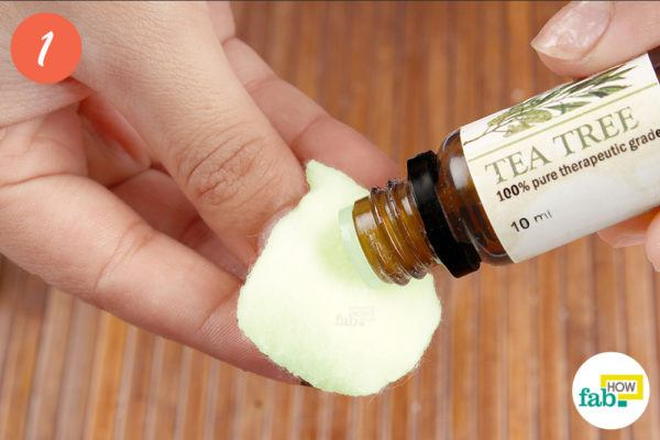 Put a couple drops of teatree oil ona cotton ball