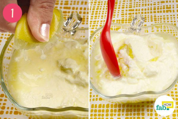 Squeeze lemon juice into the curd