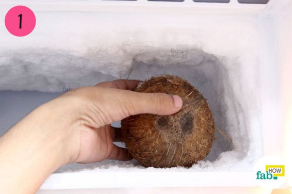 Step-1. Put the coconut in deep freeze for 12 hours