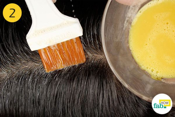 Apply on your scalp with a hair dye brush