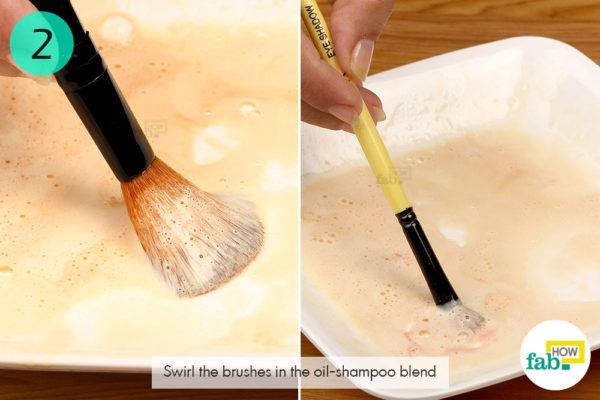 Step-2. Clean the dirty makeup brushes in the oil shampoo blend