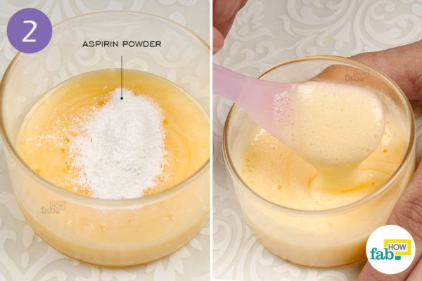 Mix aspirin powder in shampoo