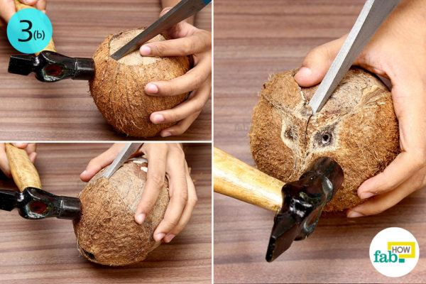 Step-3.2 Remove the shell of the coconut