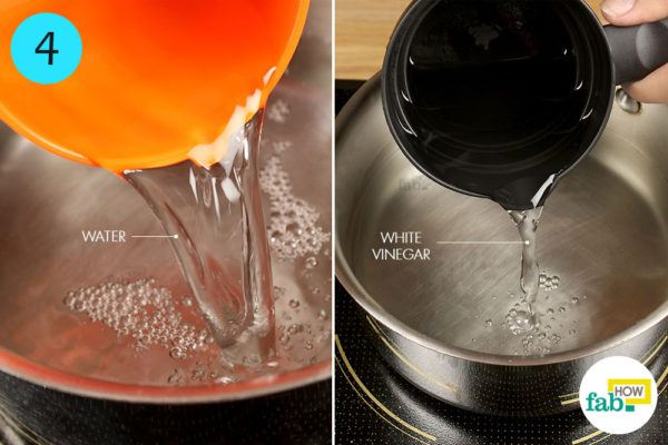 Combine 4 cups of water and 1 cup of white vinegar into a saucepan