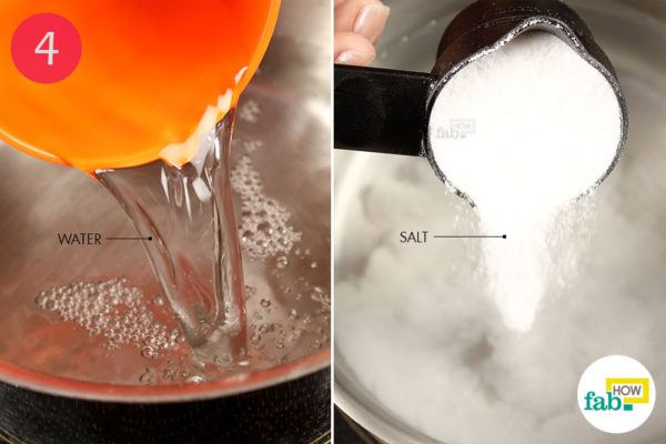 Combine water with salt in a saucepan