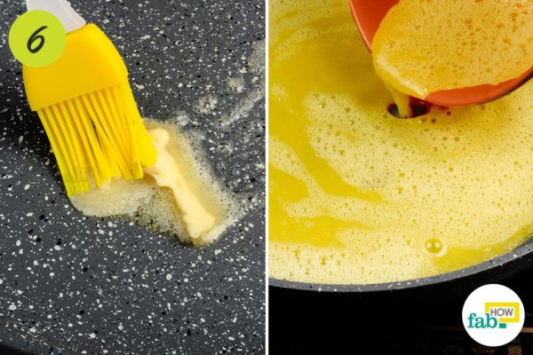 Coat the nonstick skillet with butter
