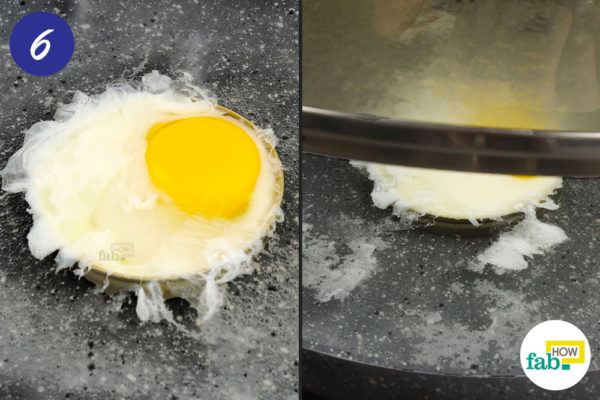 Cover the pan and let the-egg-cook