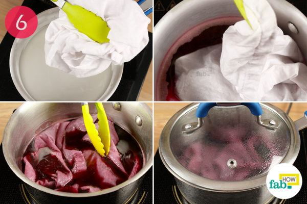 Transfer the cloth to a saucepan containing dye