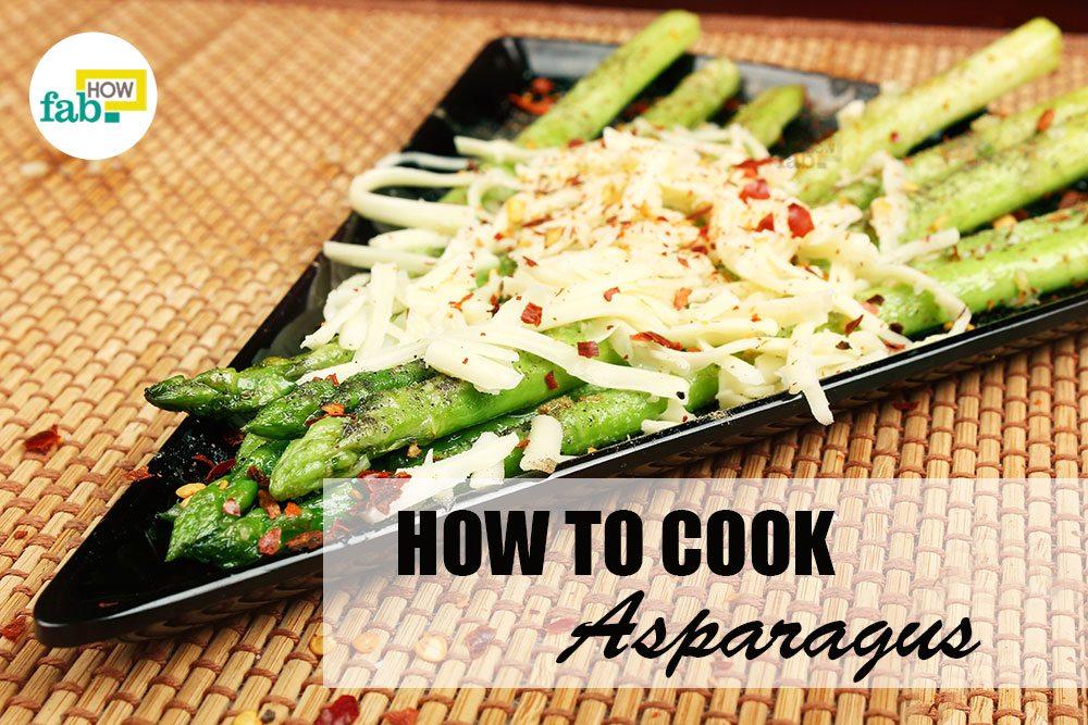 Cook asparagus boil stir fry