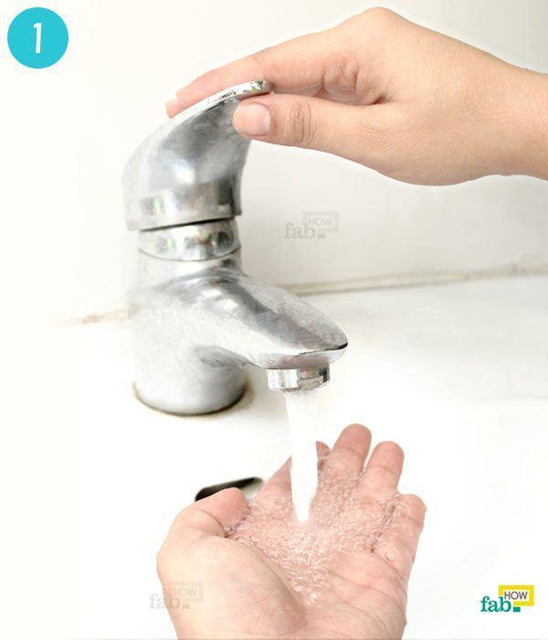 wet your hands under running water