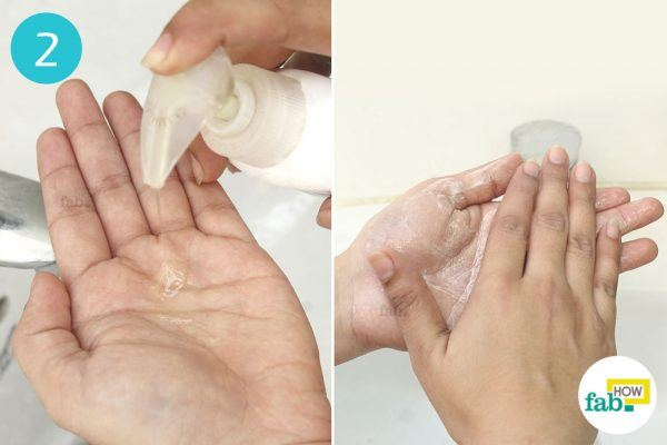take soap in your hands