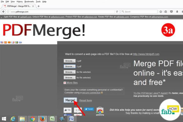 click merge button