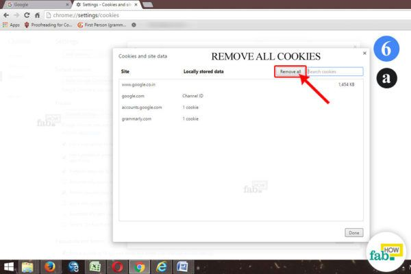 remove all cookies chrome