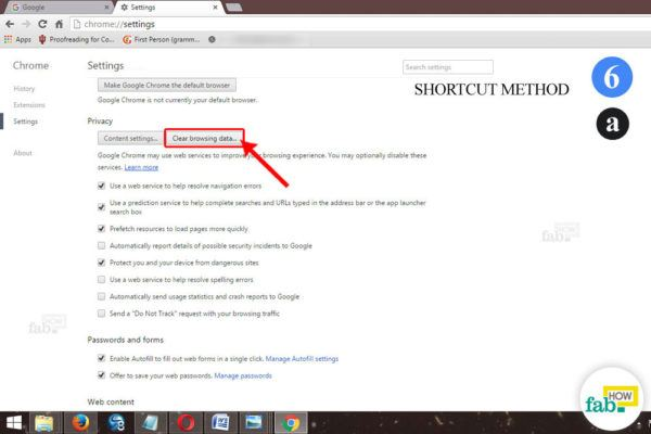 shortcut method chrome