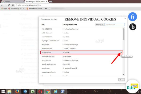 remove individual cookie chrome