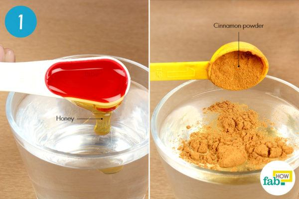 Add honey and cinnamon powder to warm water