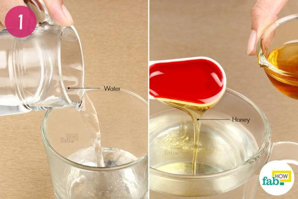 Add honey to warm water