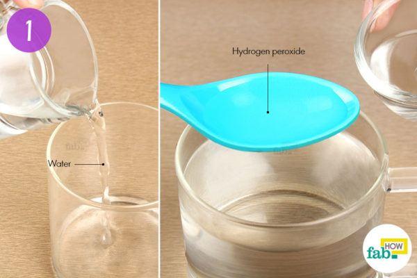 Add hydrogen peroxide to warm water
