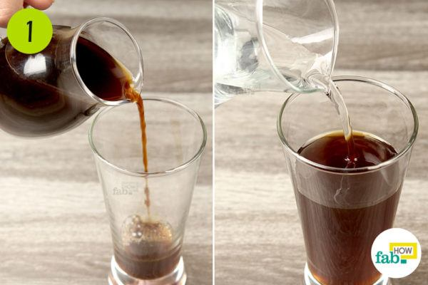 Combine brewed coffee and water in a glass