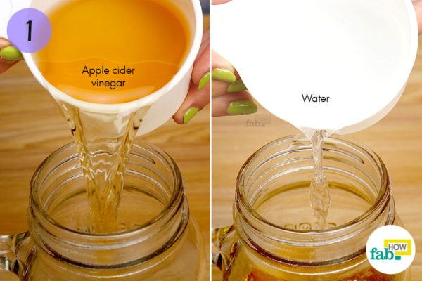 Combine equal quantities of apple cider vinegar and water