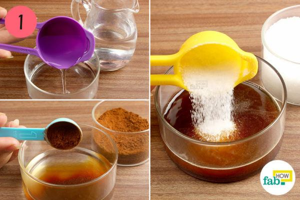 Combine warm water, instant coffee and sugar in a glass bowl