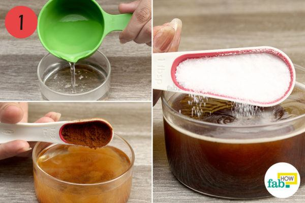 Combine warm water, instant coffee and sugar in abowl