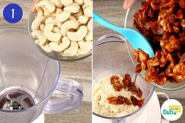 Mill the cashews and dates in a blender