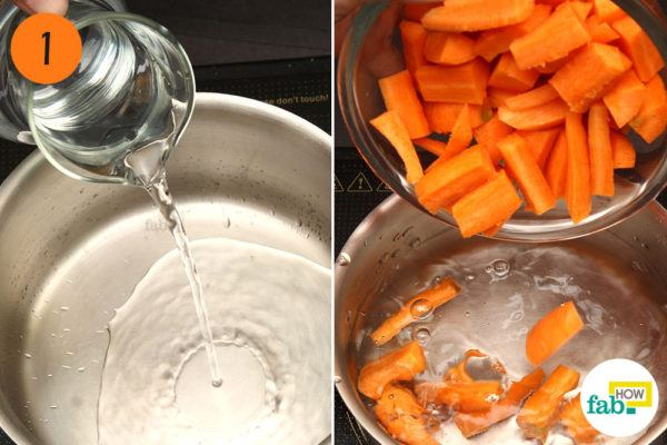 Step-1. Put carrots and water in a pan