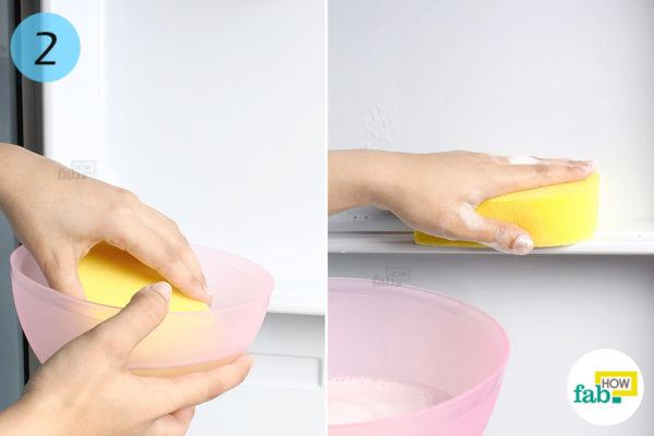 Clean the interior with- soapy sponge