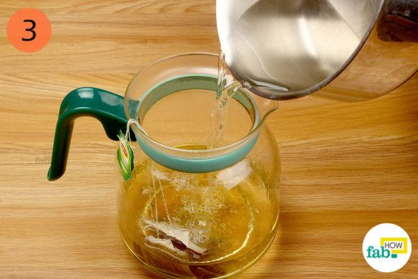Add hot water and steep the tea