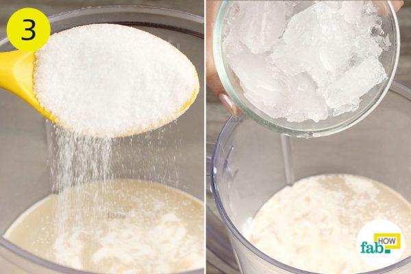 Add sugar and crushed ice