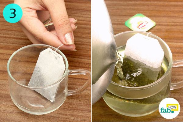 Put a teabag and hot water-in-the-cup