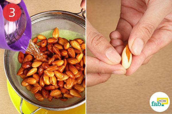 Rinse and peel the almonds
