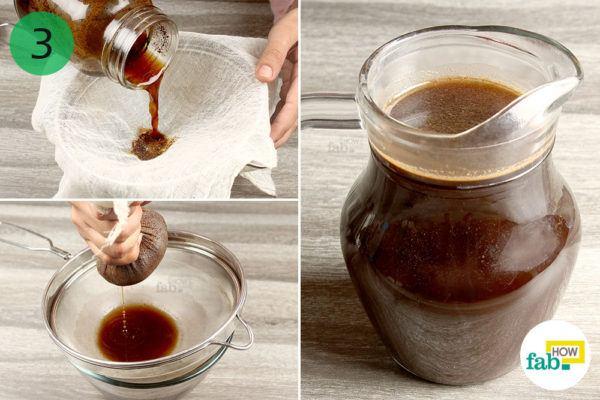 Strain the brewed coffee