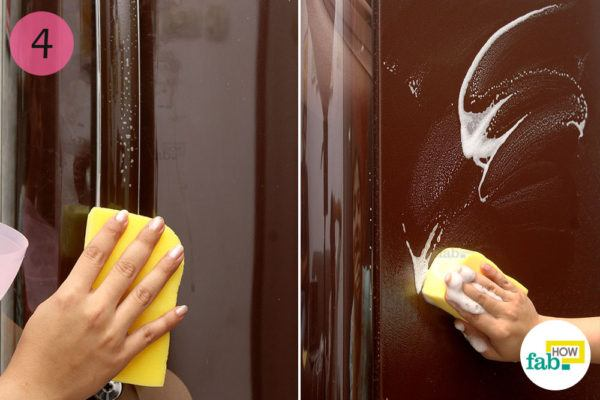Clean the exterior with a soapy sponge