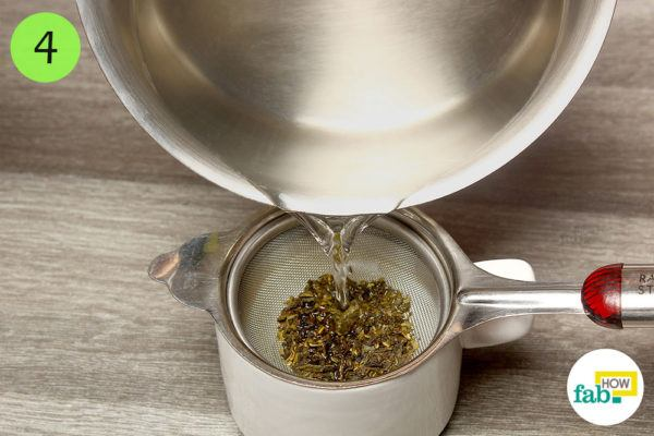 Pour hot water over the tea leaves and steep