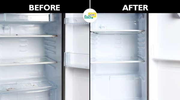 Before after cleaned refrigerator