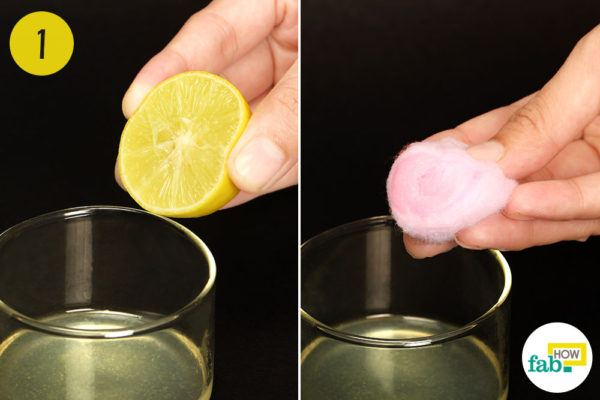 Dip a cotton ball into freshly squeezed lemon juice