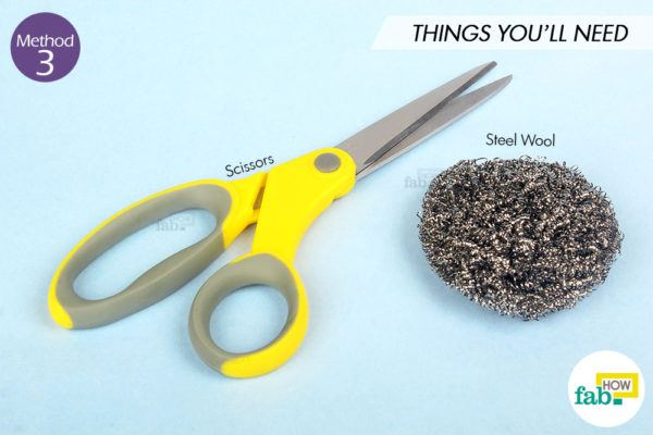 Sharpen scissor steel wool things need
