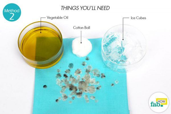 vegetable oil and ice cubes for wax stains