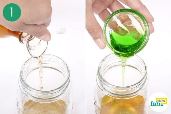 make a solution of ACV and dish soap