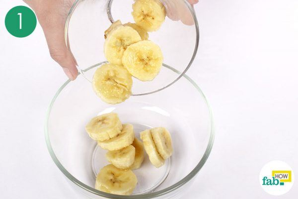 place the overripe fruit in a glass bowl